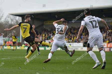 Burton Albion midfielder Luke Murphy (7) scores a goal to make the score 2-1 during the EFL Sky Bet Championship match between Burton Albion and Derby County at the Pirelli Stadium, Burton upon Trent. Picture by Richard Holmes