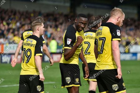 Burton Albion striker Lucas Akins (10) celebrates scoring a goal, making the score 3-1, during the EFL Sky Bet Championship match between Burton Albion and Derby County at the Pirelli Stadium, Burton upon Trent. Picture by Richard Holmes
