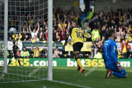 Burton Albion striker Lucas Akins (10) celebrates scoring a goal, making the score 3-1, as Derby County goalkeeper Scott Carson (1) looks dejected during the EFL Sky Bet Championship match between Burton Albion and Derby County at the Pirelli Stadium, Burton upon Trent. Picture by Richard Holmes