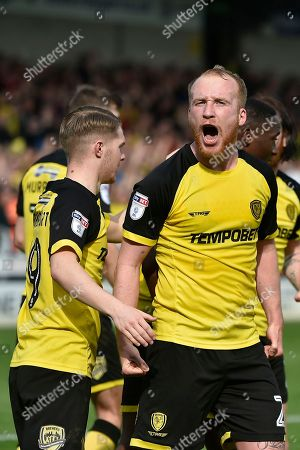 Burton Albion striker Liam Boyce (27) celebrates during the EFL Sky Bet Championship match between Burton Albion and Derby County at the Pirelli Stadium, Burton upon Trent. Picture by Richard Holmes