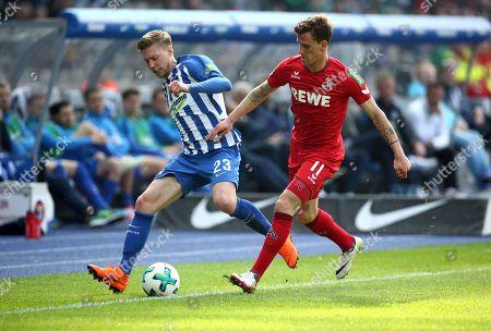 Mitchell Weiser, Simon Zoller /   /        /       / Football: Germany, 1. Bundesliga  /  2017/2018 / 14.04.2018 / Hertha BSC Berlin vs. 1.FC Koeln 180414003 /