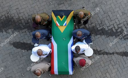 The coffin of Winnie Madikizela-Mandela is carried into Orlando stadium for the official state funeral in Soweto, Johannesburg, South Africa, 14 April 2018. Winnie Mandela, former wife of then South African president Nelson Mandela and anti-apartheid activist, passed away at the age of 81 at a Johannesburg hospital on 02 April 2018.