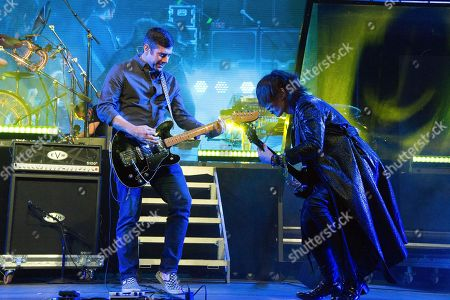 Wes Borland, left, of Limp Bizkit performs with Sugizo of X Japan performs at the Coachella Music & Arts Festival at the Empire Polo Club, in Indio, Calif