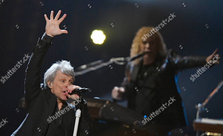 Inductee Jon Bon Jovi and the band Bon Jovi perform during the Rock and Roll Hall of Fame Induction ceremony, in Cleveland