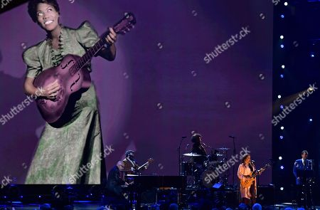 Felicia Collins performs during the Rock and Roll Hall of Fame induction ceremony, in Cleveland