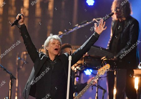 Jon Bon Jovi performs during the Rock and Roll Hall of Fame induction ceremony, in Cleveland