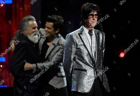 Inductee Ric Ocasek of The Cars speaks during the Rock and Roll Hall of Fame induction ceremony, in Cleveland