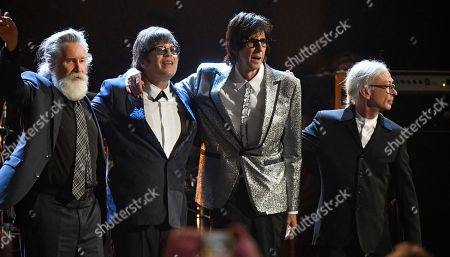 Members of the Cars are honored after performing during the Rock and Roll Hall of Fame induction ceremony, in Cleveland