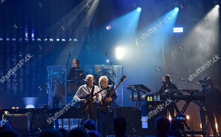 The Moody Blues perform during the Rock and Roll Hall of Fame induction ceremony, in Cleveland
