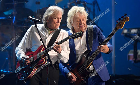 John Lodge, Justin Hayward. Justin Hayward, left, and John Lodge of the Moody Blues perform during the Rock and Roll Hall of Fame induction ceremony, in Cleveland