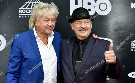 Stock Image of John Lodge, Mike Pinder. John Lodge, left, and Mike Binder, both members of the Moody Blues, arrive on the red carpet before the Rock and Roll Hall of Fame induction ceremony, in Cleveland