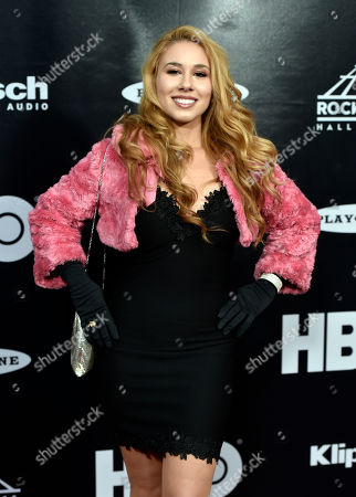 Haley Reinhart arrives at the red carpet before the Rock and Roll Hall of Fame Induction ceremony, in Cleveland