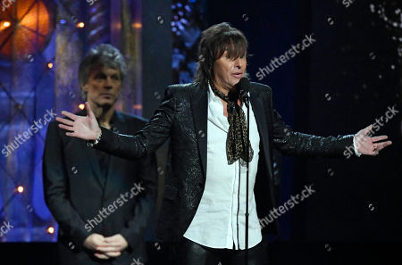 Richie Sambora, from the band Bon Jovi, speaks during the Rock and Roll Hall of Fame Induction ceremony, in Cleveland
