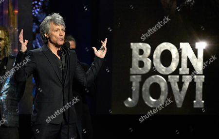 Jon Bon Jovi speaks during the Rock and Roll Hall of Fame Induction ceremony, in Cleveland