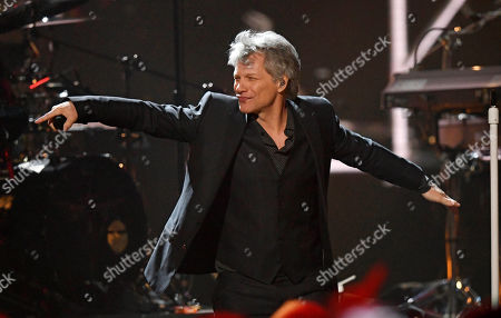 Inductee Jon Bon Jovi performs during the Rock and Roll Hall of Fame Induction ceremony, in Cleveland