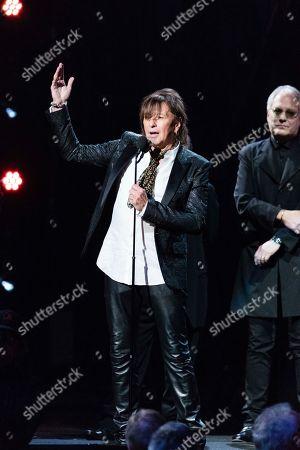 Richie Sambora, Hugh McDonald. Richie Sambora, and Hugh McDonald are seen at the 2018 Rock and Roll Hall of Fame Induction Ceremony at Cleveland Public Auditorium, in Cleveland, Ohio