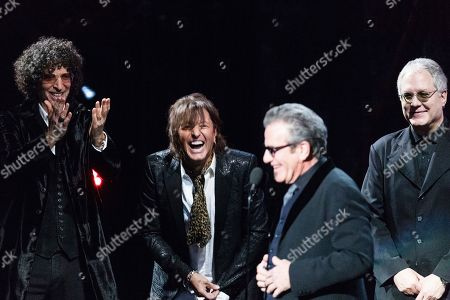 Howard Stern, Richie Sambora, Hugh Mcdonald. Howard Stern, Richie Sambora, and Hugh McDonald, right, are seen at the 2018 Rock and Roll Hall of Fame Induction Ceremony at Cleveland Public Auditorium, in Cleveland, Ohio