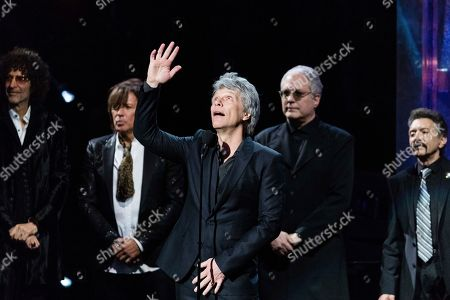 Richie Sambora, Jon Bon Jovi, Howard Stern, Hugh Mcdonald, Tico Torres. Howard Stern, left, Richie Sambora, Jon Bon Jovi, Hugh McDonald, and Tico Torres are seen at the 2018 Rock and Roll Hall of Fame Induction Ceremony at Cleveland Public Auditorium, in Cleveland, Ohio