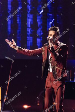 Brandon Flowers performs at the 2018 Rock and Roll Hall of Fame Induction Ceremony at Cleveland Public Auditorium, in Cleveland