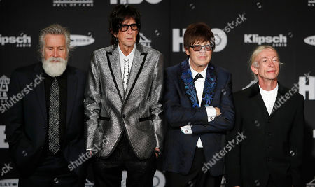 Stock Photo of Members of the US rock band The Cars (L-R) David Robinson, Ric Ocasek, Elliot Easton, and Greg Hawkes appear in the press room at the Rock and Roll Hall of Fame induction ceremony at Public Hall in Cleveland, Ohio, USA, 14 April, 2018. This year's inductees to the Rock and Roll Hall of Fame are:  Bon Jovi, The Moody Blues, The Cars, Dire Straits, Nina Simone, and Sister Rosetta Tharpe.
