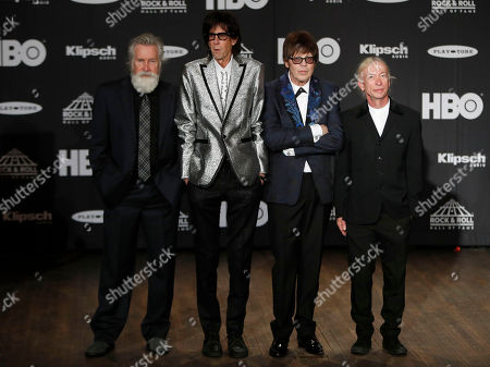 Stock Image of Members of the US rock band The Cars (L-R) David Robinson, Ric Ocasek, Elliot Easton, and Greg Hawkes appear in the press room at the Rock and Roll Hall of Fame induction ceremony at Public Hall in Cleveland, Ohio, USA, 14 April, 2018. This year's inductees to the Rock and Roll Hall of Fame are:  Bon Jovi, The Moody Blues, The Cars, Dire Straits, Nina Simone, and Sister Rosetta Tharpe.