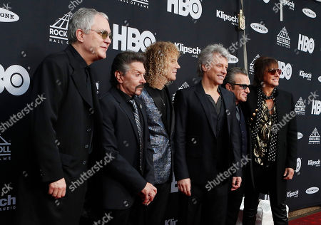 Members of the US rock band Bon Jovi (L-R) Hugh McDonald, Phil X, David Bryan, Jon Bon Jovi, Tico Torres, and Richie Sambora arrive at the Rock and Roll Hall of Fame induction ceremony at Public Hall in Cleveland, Ohio, USA, 14 April, 2018. This year's inductees to the Rock and Roll Hall of Fame are:  Bon Jovi, The Moody Blues, The Cars, Dire Straits, Nina Simone, and Sister Rosetta Tharpe.