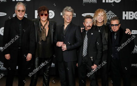 Stock Picture of Members of the US rock group Bon Jovi (L-R) Hugh McDonald, Richie Sambora, Jon Bon Jovi, Alec John Such, David Bryan, and Tico Torres appear in the media room at the Rock and Roll Hall of Fame induction ceremony at Public Hall in Cleveland, Ohio, USA, 14 April, 2018. This year's inductees to the Rock and Roll Hall of Fame are:  Bon Jovi, The Moody Blues, The Cars, Dire Straits, Nina Simone, and Sister Rosetta Tharpe.