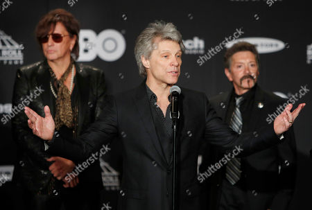 Members of the US rock group Bon Jovi - Richie Sambora (L), Jon Bon Jovi (C) and Alec John Such (R) - appear in the media room at the Rock and Roll Hall of Fame induction ceremony at Public Hall in Cleveland, Ohio, USA, 14 April, 2018. This year's inductees to the Rock and Roll Hall of Fame are:  Bon Jovi, The Moody Blues, The Cars, Dire Straits, Nina Simone, and Sister Rosetta Tharpe.