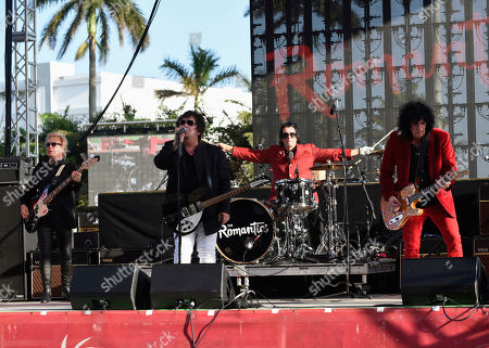 Stock Image of Rich Cole, Wally Palmar, Brad Elvis, Mike Skill. Rich Cole, from left, Wally Palmar, Brad Elvis and Mike Skill of The Romantics perform at Magic City Casino on in Miami, Fla