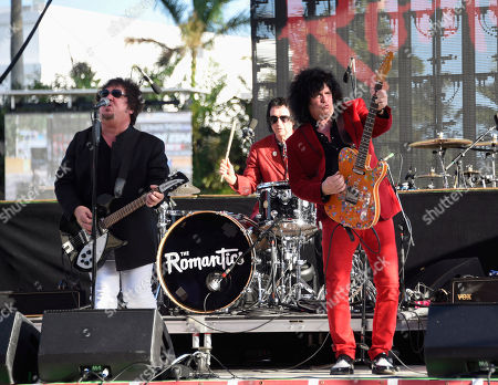 Stock Picture of Wally Palmar, Brad Elvis, Mike Skill. Wally Palmar, from left, Brad Elvis and Mike Skill of The Romantics perform at Magic City Casino on in Miami, Fla