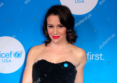 Alyssa Milano arrives at 7th Biennial UNICEF Ball at the Beverly Wilshire Hotel, in Beverly Hills, Calif