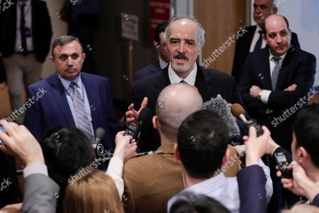 Bashar Jaafari Syrian ambassador to the United Nations during a Security Council meeting on the situation in the Middle East after air strikes carried out by France, the United Kigdom and the United States in Syria.