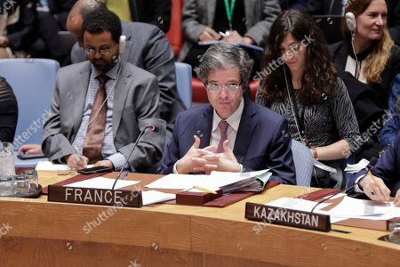Francois Delattre, Permanent Representative of France to the United Nations during a Security Council meeting on the situation in the Middle East after air strikes carried out by France, the United Kigdom and the United States in Syria.