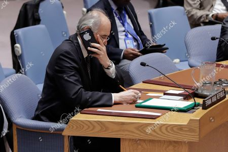 Bashar Jaafari, Permanent Representative of the Syrian Arab Republic to the United Nations during a Security Council meeting on the situation in the Middle East after air strikes carried out by France, the United Kigdom and the United States in Syria.
