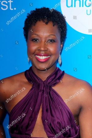 Stock Image of Amber Hill arrives at the 7th Biennial UNICEF Ball at the Beverly Wilshire Hotel on Saturday, April 14,2018, in Beverly Hills, Calif