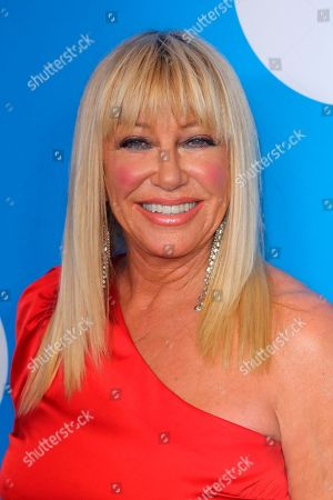 Suzanne Somers arrives at the 7th Biennial UNICEF Ball at the Beverly Wilshire Hotel on Saturday, April 14,2018, in Beverly Hills, Calif