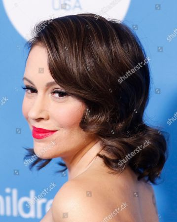 Alyssa Milano arrives at the 7th Biennial UNICEF Ball at the Beverly Wilshire Hotel on Saturday, April 14,2018, in Beverly Hills, Calif