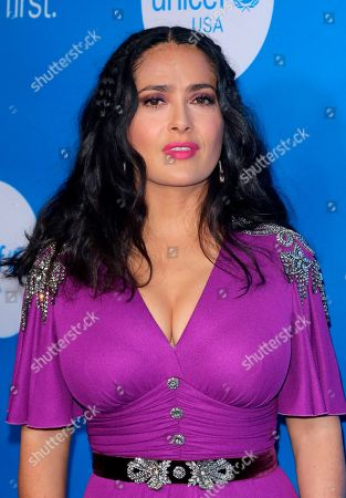 Salma Hayek arrives at the 7th Biennial UNICEF Ball at the Beverly Wilshire Hotel on Saturday, April 14,2018, in Beverly Hills, Calif