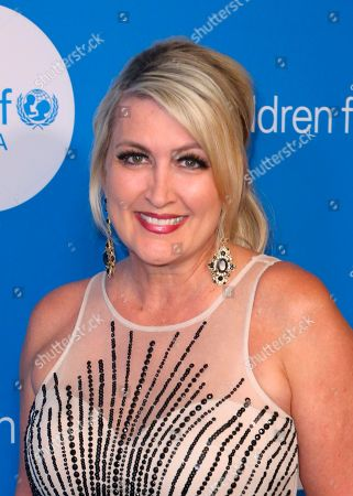 Wendy Burch arrives at the 7th Biennial UNICEF Ball at the Beverly Wilshire Hotel on Saturday, April 14,2018, in Beverly Hills, Calif
