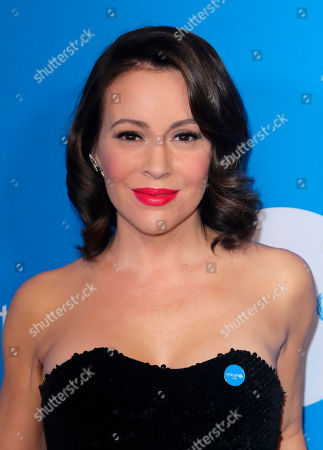 Alyssa Milano arrives at 7th Biennial UNICEF Ball at the Beverly Wilshire Hotel on Saturday, April 14,2018, in Beverly Hills, Calif