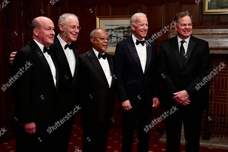 Joe Biden, Bruce Colbourn, Ron Chernow, Heny Louis Gates Jr., Joe Meterchick. IMAGE DISTRIBUTED FOR PNC FINANCIAL SERVICES GROUP, INC. - Bruce Colbourn, Market Executive for Delaware at PNC Bank, from left, historic biographer Ron Chernow, cultural researcher and journalist Henry Louis Gates Jr., former U.S. Vice President Joe Biden and Joe Meterchick, Regional President for Philadelphia, Delaware and Southern New Jersey at PNC Bank pose for a portrait during the 39th Annual Common Wealth Awards at the Hotel du Pont, in Wilmington, Del. Biden, Chernow and Gates Jr., were honored, witnessed by over 200 guests
