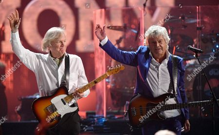 Justin Hayward, John Lodge. Justin Hayward, left, and John Lodge of the Moody Blues wave after performing during the Rock and Roll Hall of Fame induction ceremony, early, in Cleveland