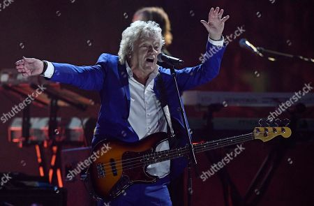 John Lodge of the Moody Blues performs during the Rock and Roll Hall of Fame induction ceremony, early, in Cleveland
