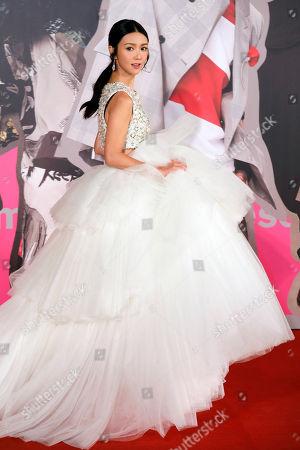 Stock Photo of Hong Kong actress Fiona Sit poses on the red carpet of the Hong Kong Film Awards in Hong Kong