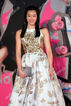 Hong Kong actress Stephanie Au poses on the red carpet of the Hong Kong Film Awards in Hong Kong