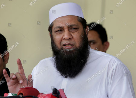 Stock Photo of Pakistan cricket chief selector Inzamam-ul-Haq speaks during a press conference to announce the test squad for upcoming tours, at Gaddafi Stadium in Lahore, Pakistan, . Opening batsman Fakhar Zaman and Imam-ul-Haq were among four uncapped players named in Pakistan's 16-man test squad for next month's tours of Ireland and England