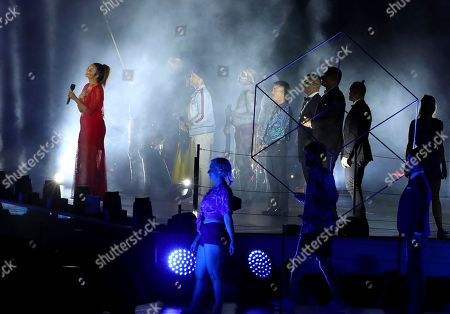Australian singer Ricki-Lee Coulter performs during the closing ceremony at Carrara Stadium during the 2018 Commonwealth Games on the Gold Coast, Australia