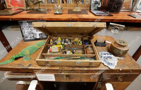 Stock Photo of IUPUI's Center for Ray Bradbury Studies preserves the author's oldest surviving desk that is pictured, in Indianapolis. The desk dating from the 1940s and 1950s was later used this desk to paint, using this oil and brush set