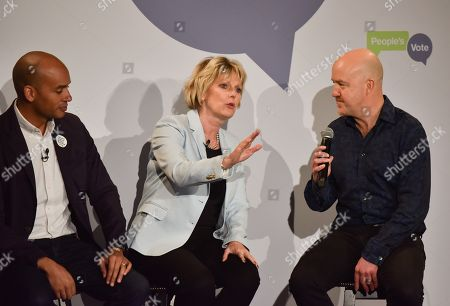 Chuka Umunna, Anna Soubry, Andy Parsons. The People's Vote campaign launch event in Camden Town, demanding a public vote on the final Brexit deal between the UK and the EU.