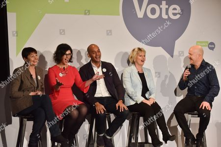 Caroline Lucas, Layla Moran, Chuka Umunna, Anna Soubry, Andy Parsons. The People's Vote campaign launch event in Camden Town, demanding a public vote on the final Brexit deal between the UK and the EU.